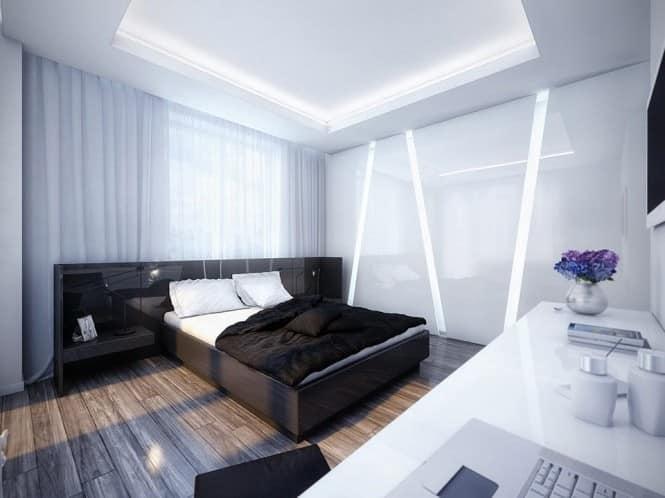 Белая спальня с черной мебелью фото