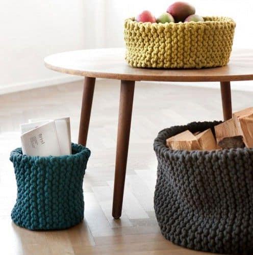 Вяжем миски для фруктов и корзины для мусора из толстой пряжи