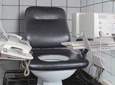 Фотоприкол: домашний офис в туалете