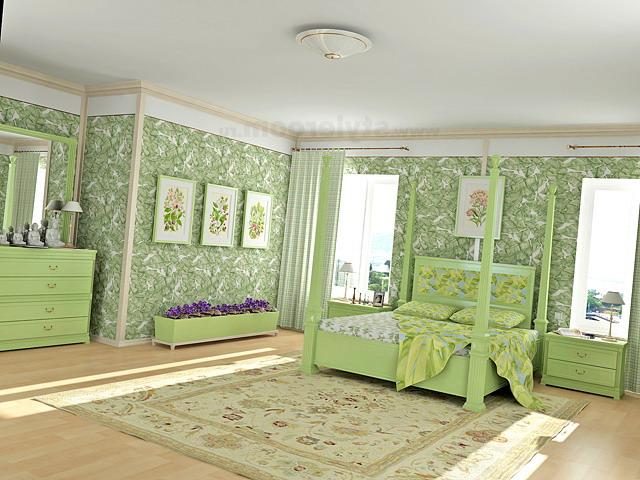 Светлые пастельные оттенки зеленого в спальне