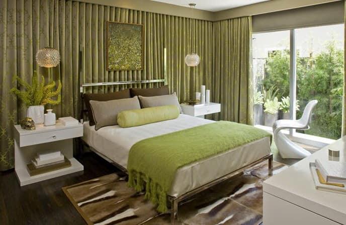 Светлые оттенки зеленого в спальне