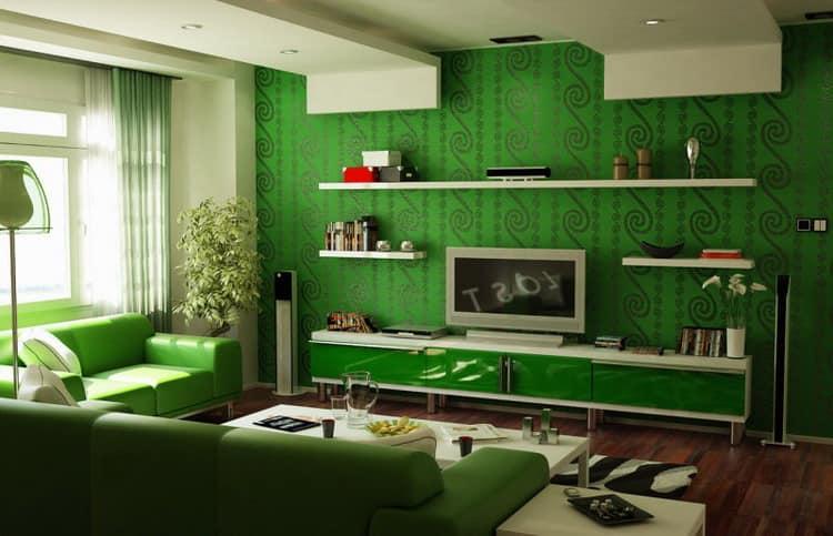 Темный узор на зеленых обоях фото