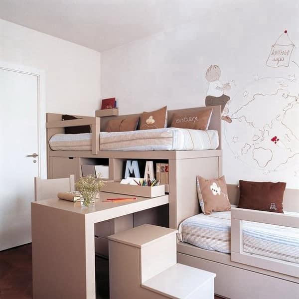 Компактная двухярусная кровать для маленькой детской