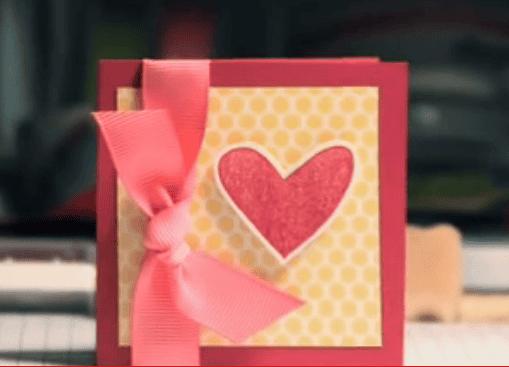 Открытка из бумаги и атласной ленты на день влюбленных мастер класс