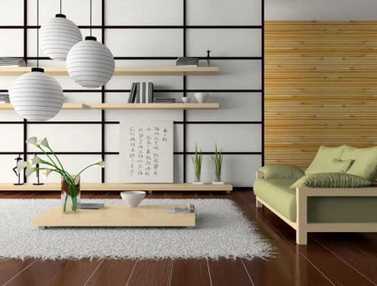 Низкий журнальный столик в гостиной японского стиля