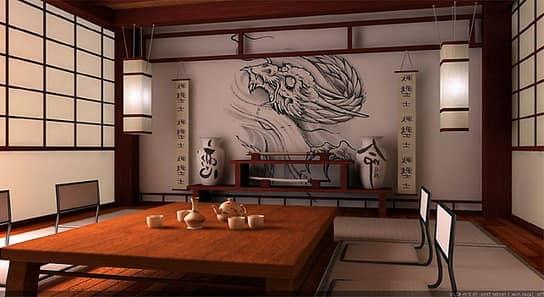 Японский стиль: рисунки на стенах