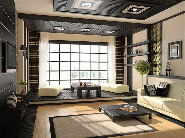 Естественные цвета японского стиля в гостиной