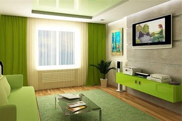 Схожие оттенки одного цвета в зеленых интерьерах