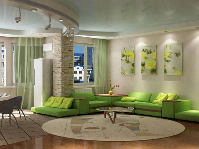 Зеленая мебель в интерьере на фото