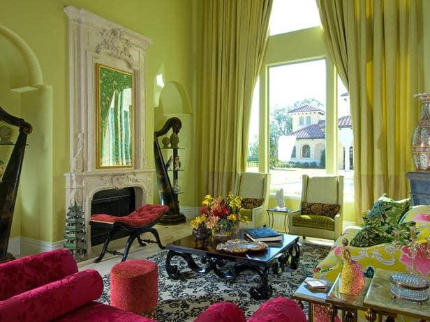 Использование зеленого цвета для декора гостиной