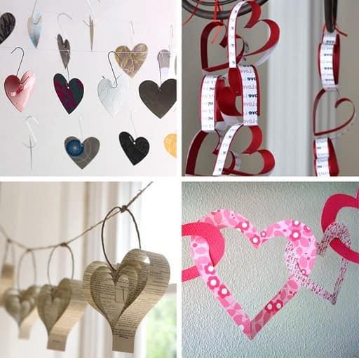 Гирлянды с сердечками для украшения комнат на 8 марта