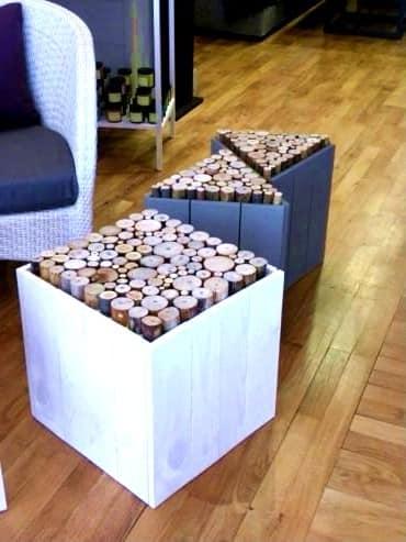 Квадратные и треугольные дизайнерские столы из дерева и поленьев