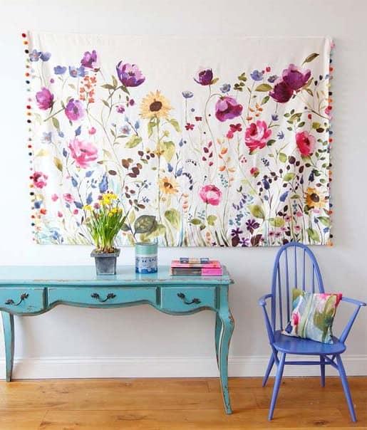 Текстильная картина с цветами - зовем весну в наш дом