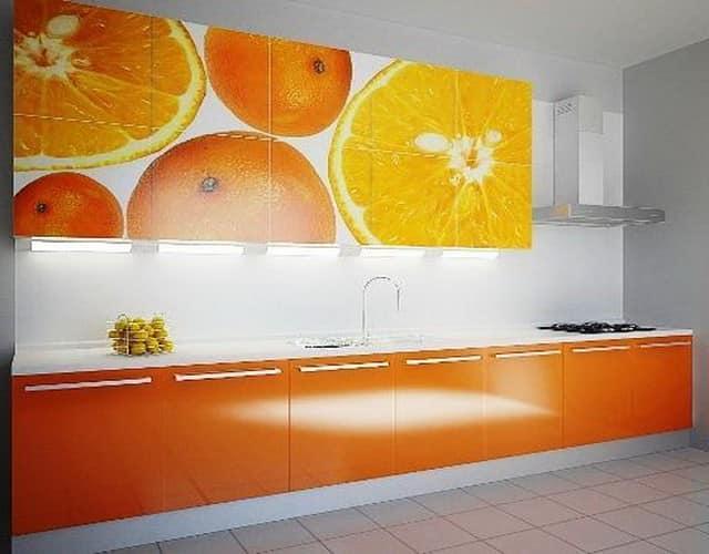 Бело-оранжевая апельсиновая кухня