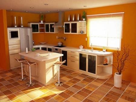 Уютная оранжевая кухня