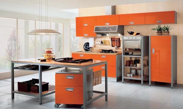 Уютная и просторная оранжевая кухня