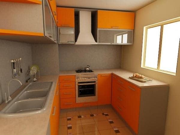 Маленькая оранжевая кухня фото