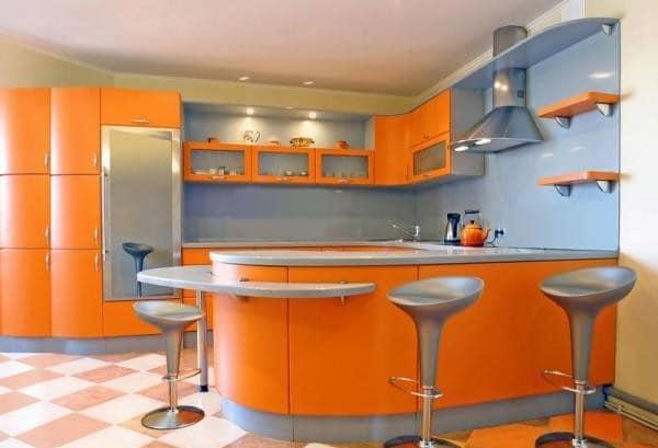 Декор кухни в оранжевом цвете