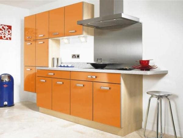 Стильная оранжевая кухня фото