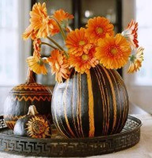 Вазы из декоративной тыквы для украшения дома