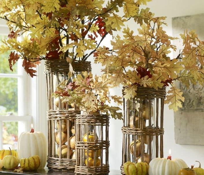Букет из сухих дубовых листьев украсит интерьер кухни