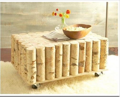 Столик из березовых стволов - украшение для интерьера