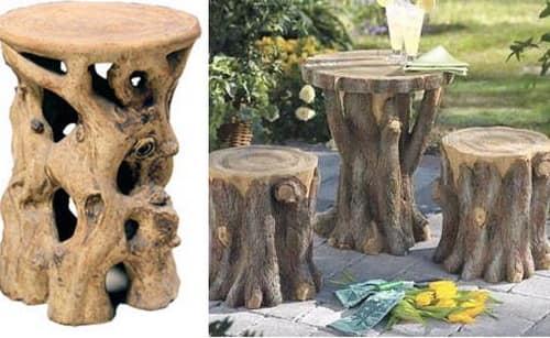 Стол и табурет из стволов для декора