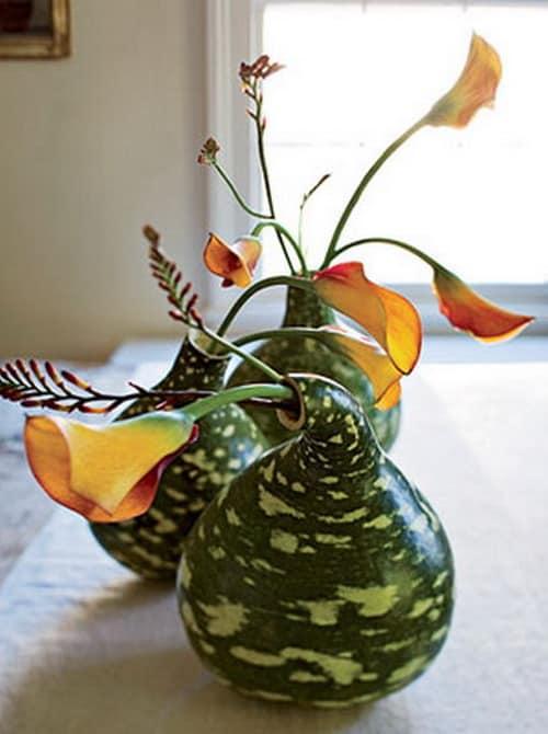 Декоративные вазочки из тыквы