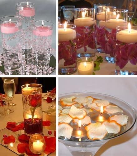 Украшаем квартиру на 8 марта плавающими свечами и лепестками роз