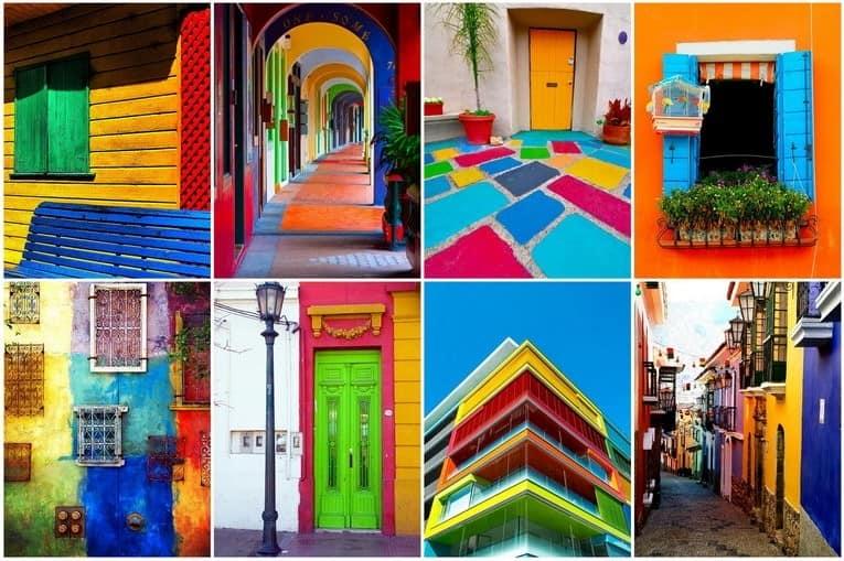 Разноцветный экстерьер: яркий фасад дома, стены, двери и окна фото