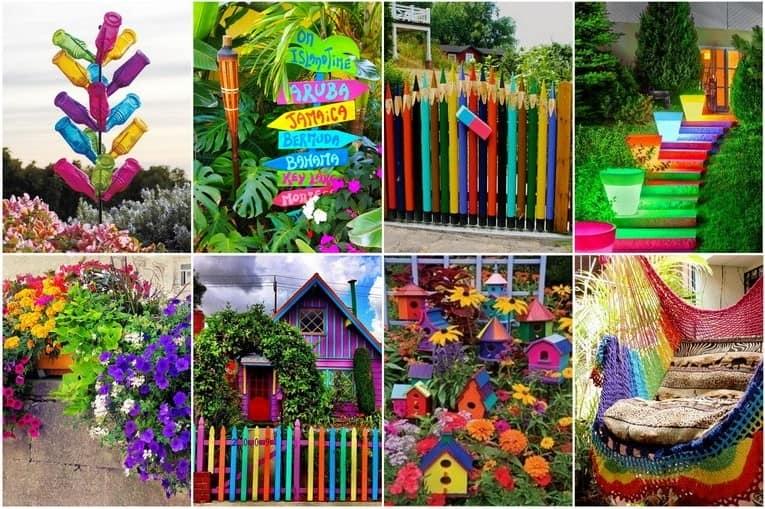 Радуга в саду: красим забор и стены дома, ставим яркие таблички, сажаем разноцветные цветы
