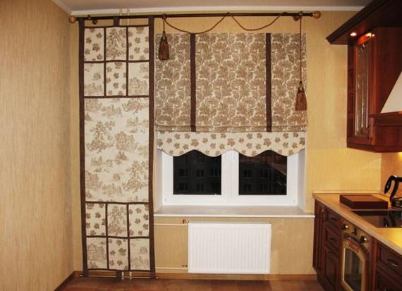 Необычные шторы и занавески на кухне фото