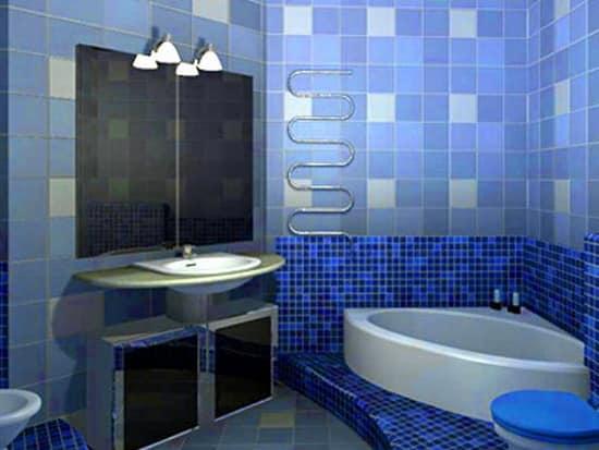Изменение интерьера ванной в синих тонах с помощью света