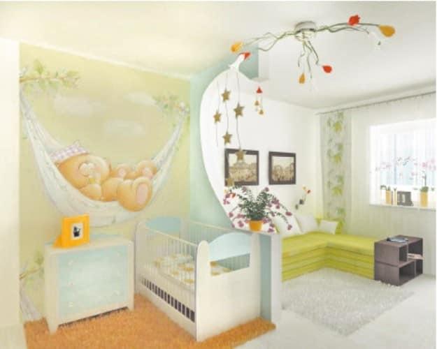 Визуальное отделение детской от комнаты аркой
