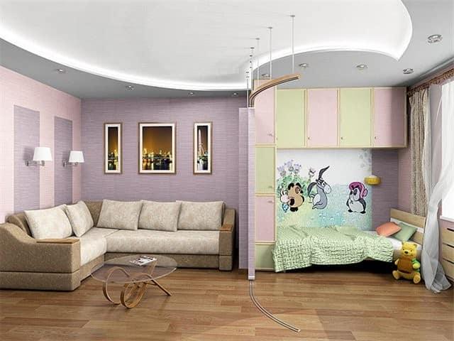 Зонирование: детская и гостиная в однокомнатной квартире
