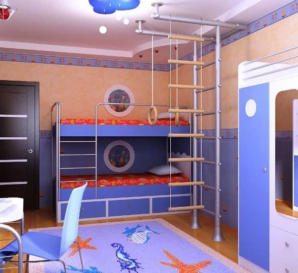 Спальное место и спортивный уголок для двух детей в однокомнатной квартире
