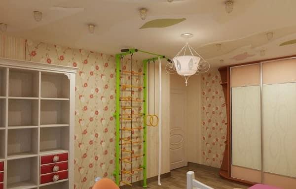 Место для занятий спортом для детей в однокомнатной квартире