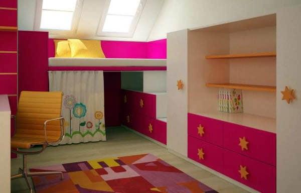 Идея: место для детских игр под кроватью - решения для маленькой площади