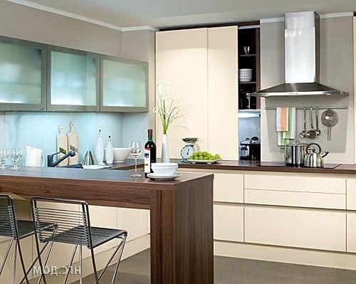 Прямая барная стойка на кухне фото