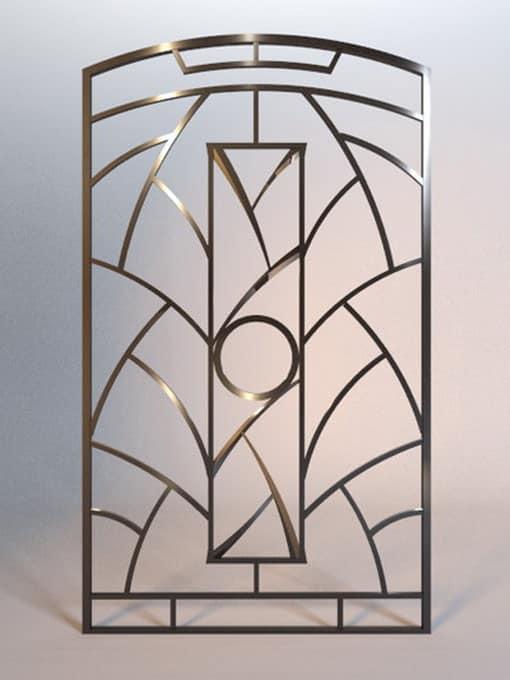 Кованая решетка для камина в стиле хай-тек