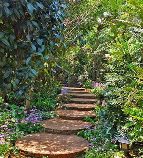 Лестница для сада из спилов древесины
