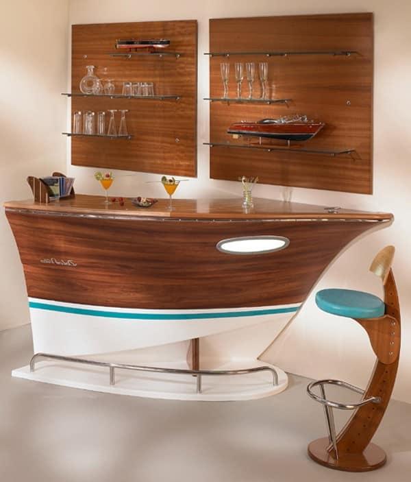 Барная стойка необычной формы в виде корабля в квартире