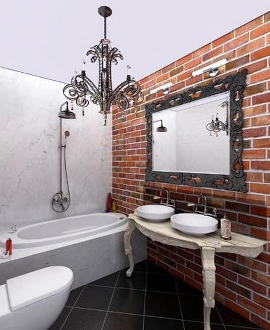 Интерьер ванной в стиле лофт - побелка на потолке