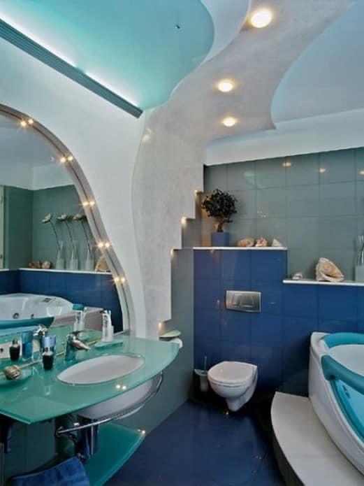Конструкции из гипсокартона для украшения стен и потолка ванной