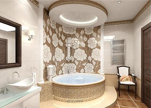 Подсветка многоуровневого потолка в интерьере ванной