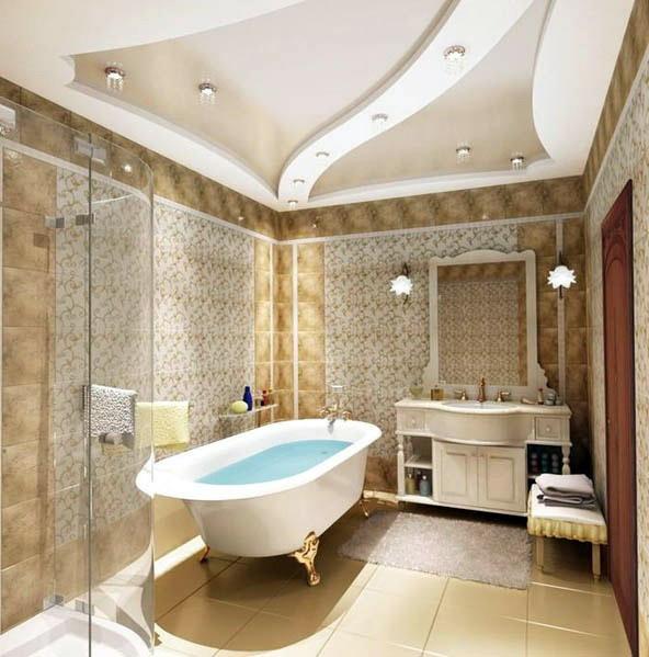 Потолок в ванной - конструкции из гипсокартона в интерьере
