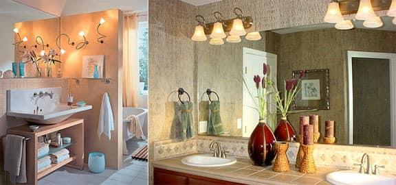 Подсветка зеркала в  интерьере ванной