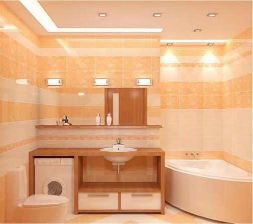 Освещение рабочей зоны и ванны в интерьере ванной