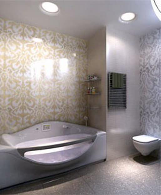Выделение светом функциональных зон в ванной