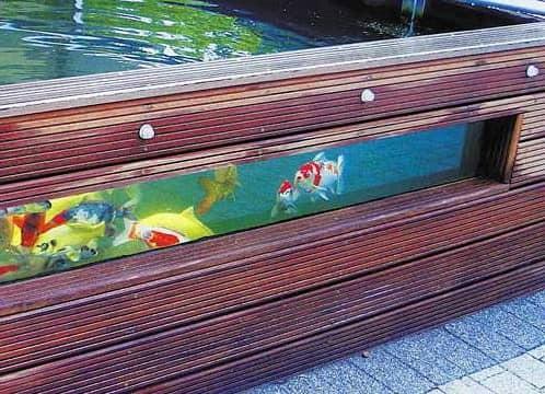Садовый аквариум с деревянными стенками